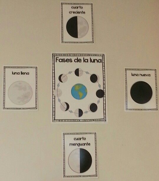 Phases of the moon in spanish - fases de la luna. Posters for bilingual, dual language and Spanish classrooms.