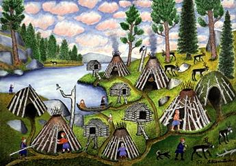 By Andreas Alariesto (1900-1989) .. Nilijärven kotakylä