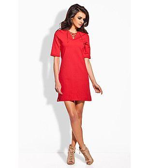 Rochie roşie cu mâneci scurte Eva