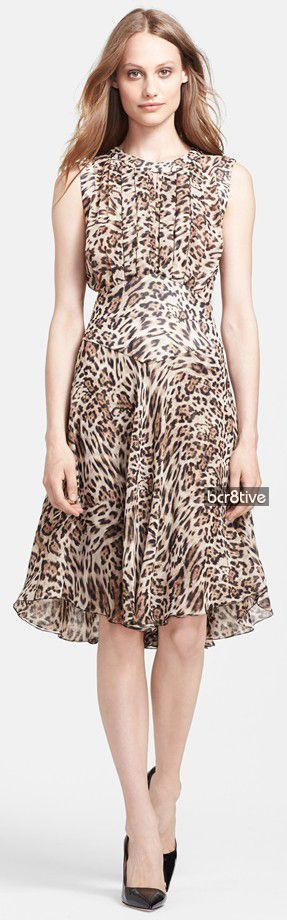 L'AGENCE Pleated Leopard Print Dress