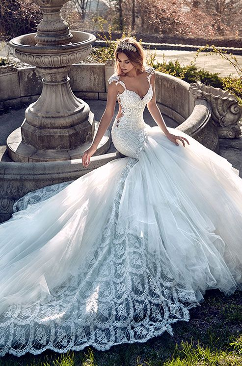 This wedding dress is inspired by the royal white peacock and has an accentuated trumpet style silhouette. Galia Lahav Le Secret Royal Couture Collection