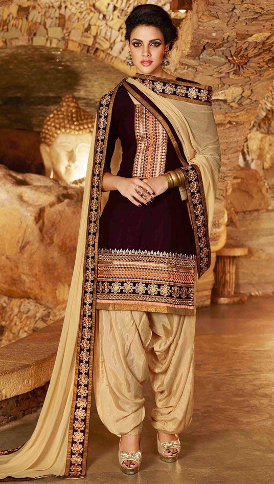 USD 31.68 Black Cotton Embroidery Punjabi Suit 44850