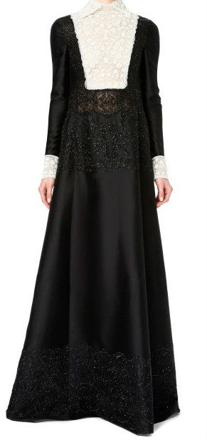 Long Sleeved Gown With Embroidered Bodice And Lace Trim by Valentino.