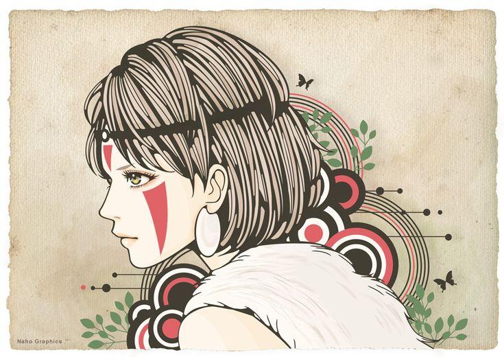 女性,イラスト,illustration,woman,art,drawing,もののけ姫