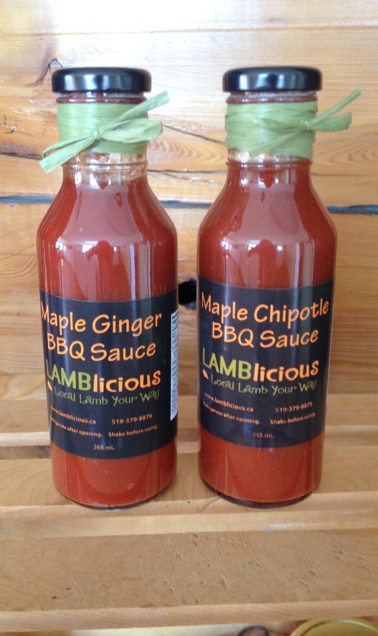 Maple Ginger BBQ sauce, Maple Chipotle BBQ sauce.  Real local maple syrup from Sauble River Farms