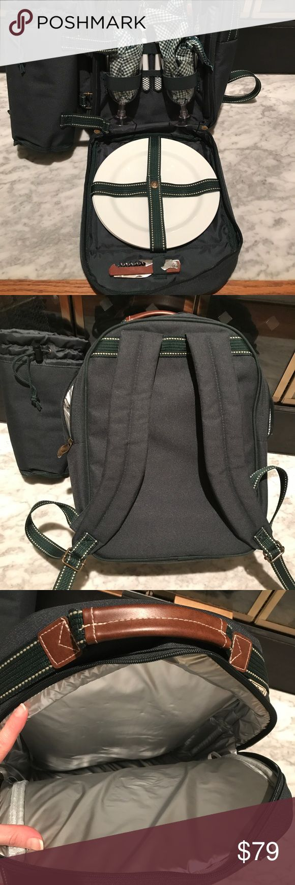 L. L. Bean Backpack picnic Hunter Green New without tags! Has everything you need for a romantic picnic hike in the woods! L.L. Bean Bags Backpacks