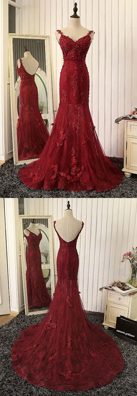 New Arrival Mermaid V-Neck Red Lace Long Prom Dress with Appliques