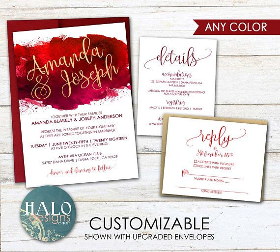 Red Watercolor Wedding Invitations Red Wedding Watercolor
