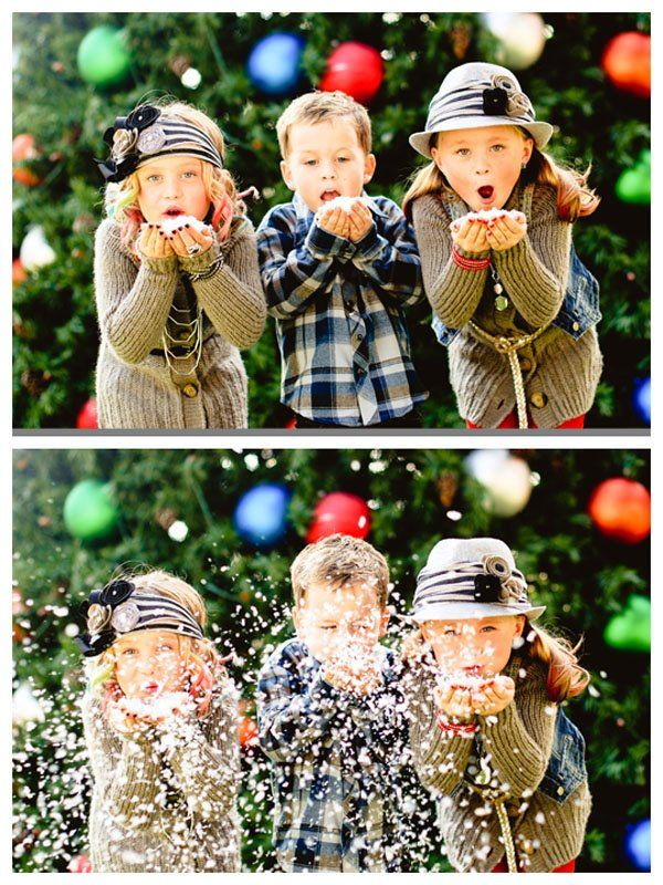 "Cute Christmas Card Idea. Or maybe use color-themed confetti since we don't get snow in Tx or you can use the ""magic snow"" stuff from Hobby Lobby for about $3"