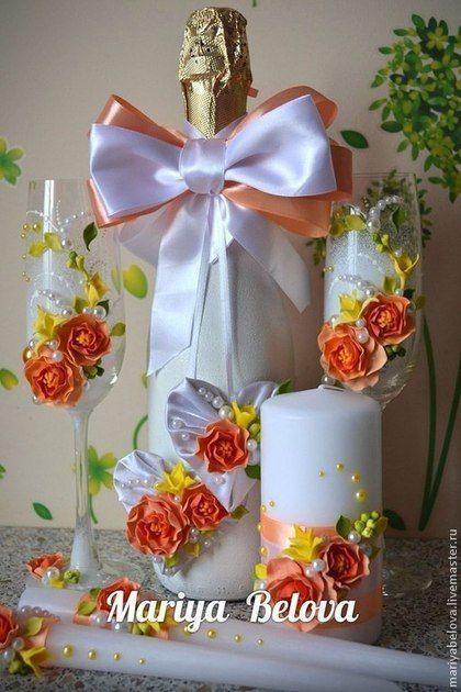 Купить или заказать Набор свадебных аксессуаров в интернет-магазине на Ярмарке Мастеров. Набор садебных аксессуаров для яркой свадьбы : фужеры, свеча семейный очаг, свечи родителям, украшение на шампанское ( Бант подходит для …