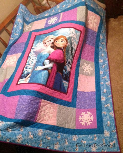Anna, Elsa, and Olaf - Frozen Quilt This fun Anna and Elsa Sisters quilt measures 74 wide X 87 long completed. Made with 100% cotton fabric, this