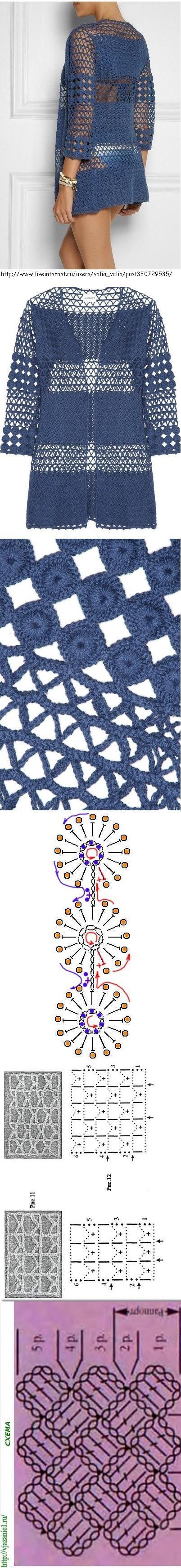 Túnica azul em Crochet