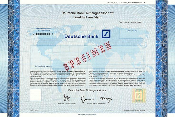 Deutsche Bank, Frankfurt a.M. + New York, Aktienmuster von 2001 + SPECIMEN!