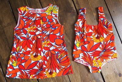 Vintage Petit Bateau Swimsuit And Jacket 30.00 We love this swimsuit from our range of vintage clothes for kids!  Amazing 1960's Petit Bateau swimsuit and matching jacket. Great condition. Bright reds, oranges and yellows in a classic 60's bold print.  Size 1- 2 years  Customise with some of our kids accessories