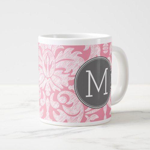 Pastel Pink & Gray Damask Pattern Custom Monogram Large Coffee Mug