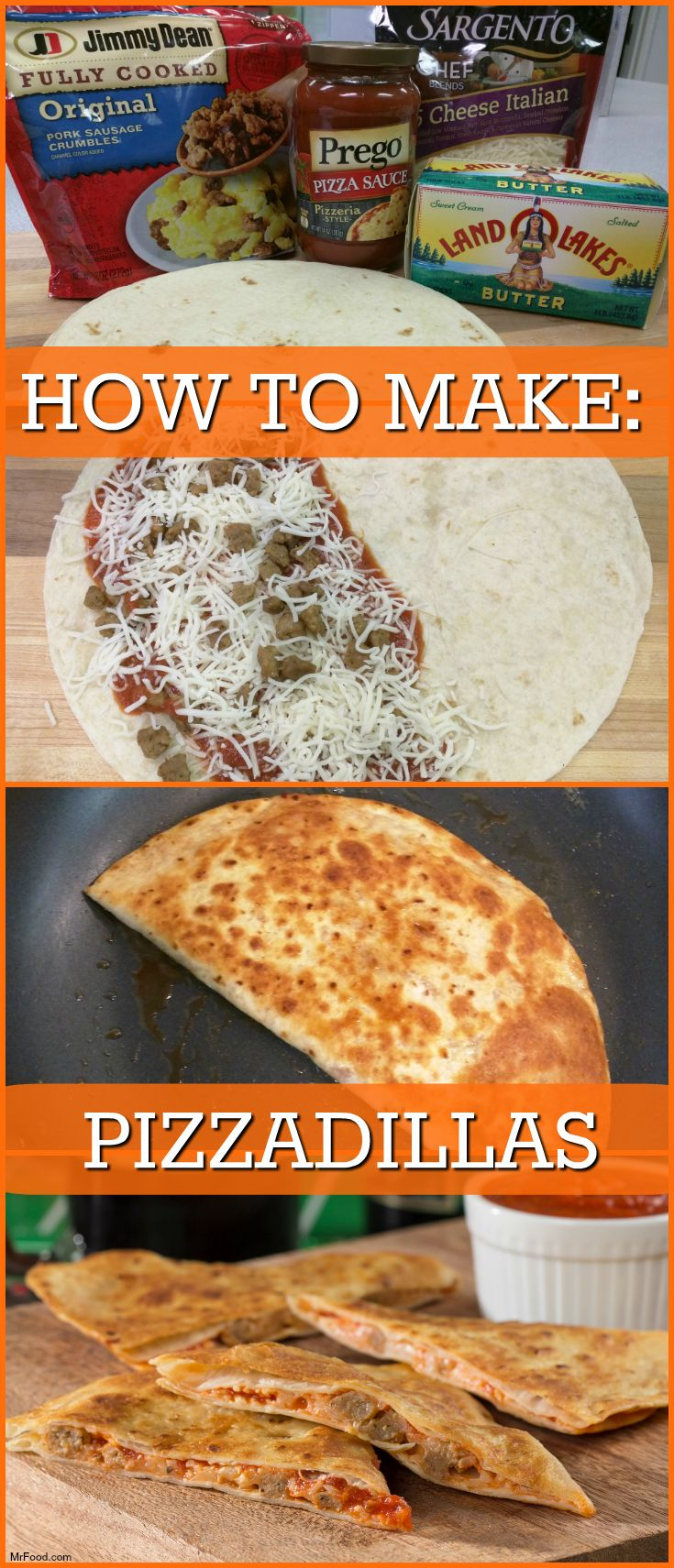 Step-by-step instructions on how to make pizza-style quesadillas for your game day party!