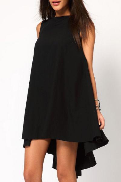 Black Slash Neck Sleeveless Dress