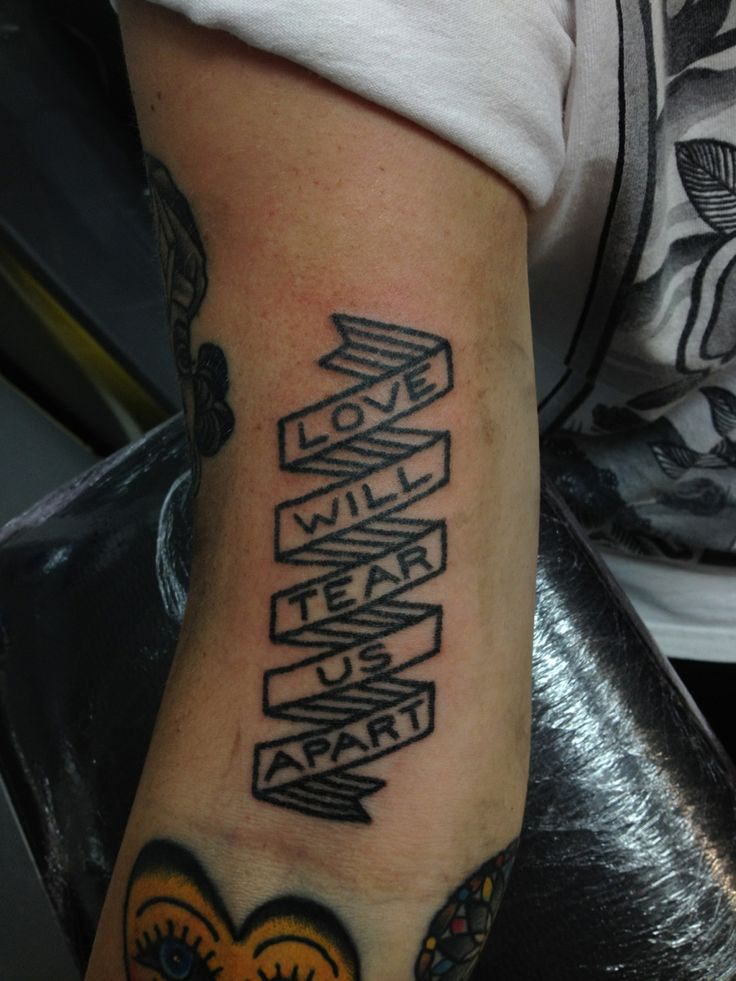 Banner tattoo.  Love the lineart banner, not necessarily the text.