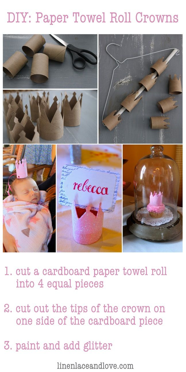 Paper Towel Roll Crowns! Perfect for little girl's birthday parties...or as place cards for bridal/bachelorette parties! :)
