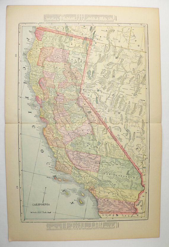 Vintage California Map, Nevada Arizona Map 1900 Antique CA Map ...