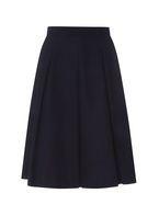 Womens Navy Cotton Full Skirt- Blue