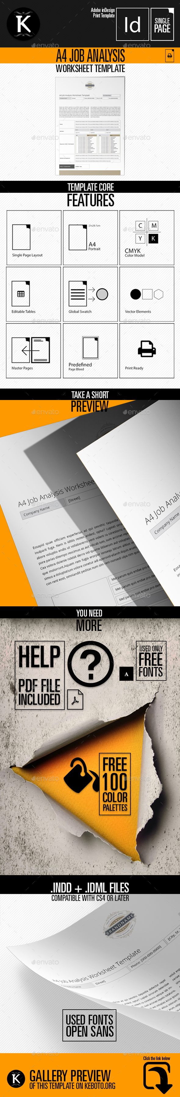 A4 Job Analysis Worksheet Template CMYK & Print Ready Clean and Corporate Design A4 Format Easily color change (Global Swatch)Cont