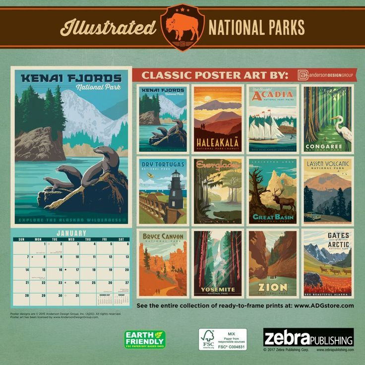 National Parks Classic Posters 2020 Wall Calendar