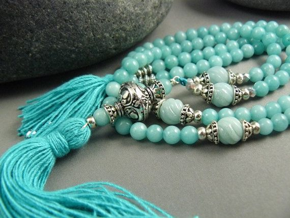Sky Mala Necklace with Amazonite by goodmedicinegemstone on Etsy, $45.00