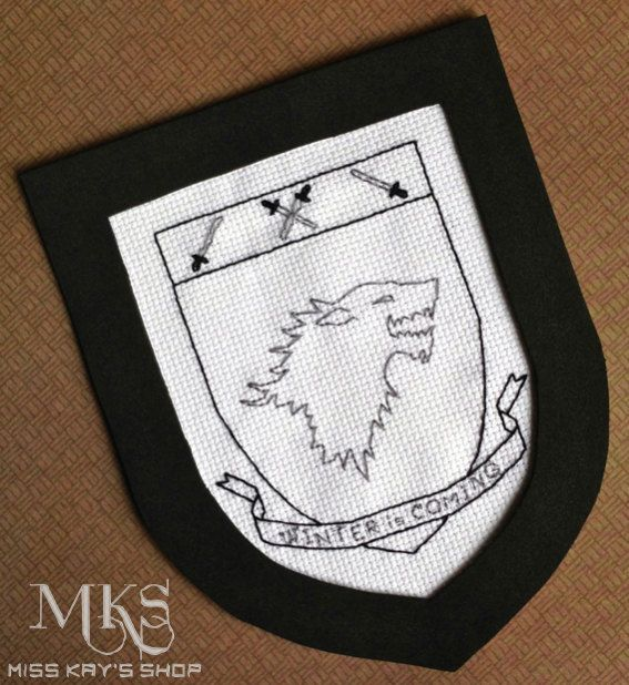 Stark Dire Wolf Sigil  Game of Thrones Cross by MissKaysShop, $3.99 • Check out the Facebook page for Miss Kay's Shop ---> www.facebook.com/MissKaysShop