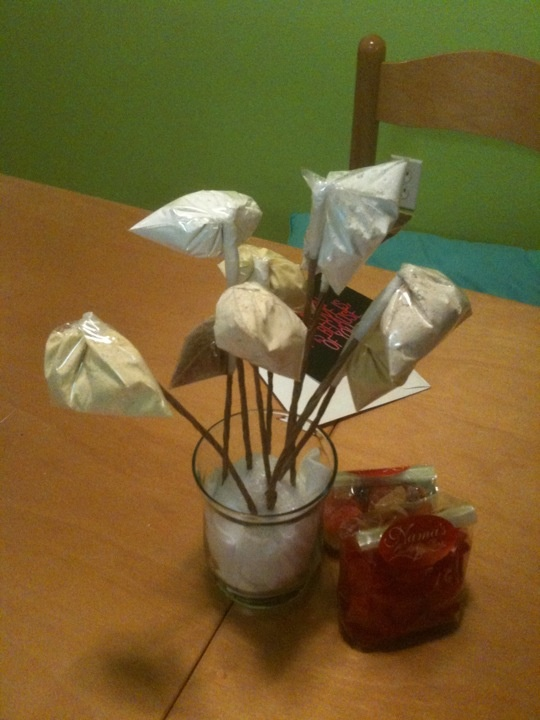 """Bouquet of """"flours"""" made for me by my silly boyfriend. I have to say, I was pretty proud of his crafting skills and cleverness! Each bag of flour is a different kind; rice, coconut, wheat, plain, corn etc..."""