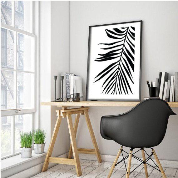 Palm Leaf Print  Tropical Leaf Print  Palm Art Print  Minimalist Art  Black  and White  Wall Print  Wall Decor. Best 20  Black printed art ideas on Pinterest   Printed art