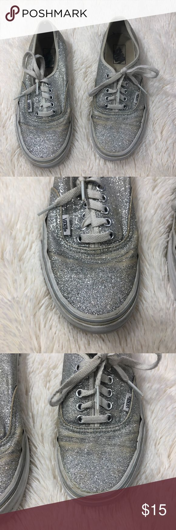VANS Womens 9 Silver Glitter Chunky Lace Shoes Vans Womens 9 Mens 7.5 Silver Grey Sparkle Glitter Chunky Skate Shoes Flat  Style: Low Top Flat Skate Shoes  Brand: VANS  Size: Womens 9 Men's 7.5 Color: Grey Sparkle Glitter Shimmer Condition: Please see photos for condition Vans Shoes Athletic Shoes