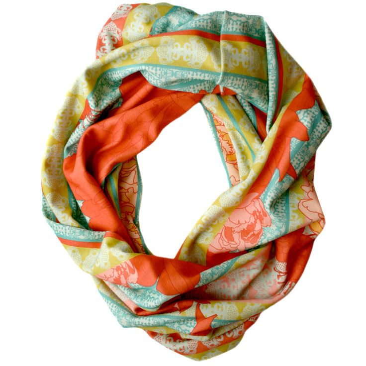 Single Loop Infinity ScarfAnchors Scarf, Casual Outfit, Veda Scarf, Spring Colors, Infinity Scarfs, Dates Outfit, Scarves, Summer Colors, Bright Colors