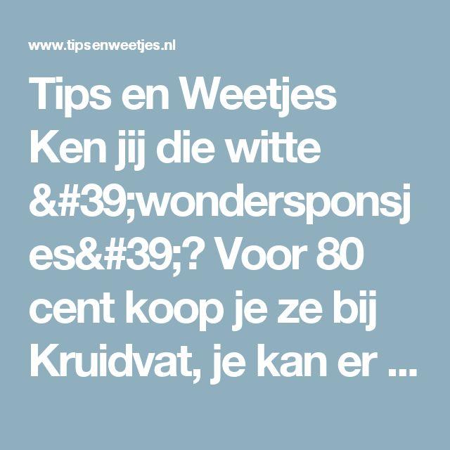 Tips en Weetjes Ken jij die witte 'wondersponsjes'? Voor 80 cent koop je ze bij Kruidvat, je kan er zoveel mee!