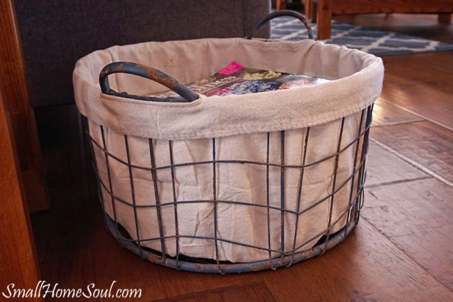 Make your own drop cloth basket liner, without a pattern