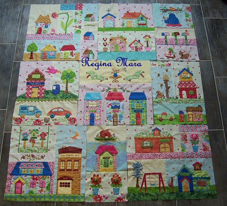 Tiny Town 9 Blocks Patchwork And Embroidery House
