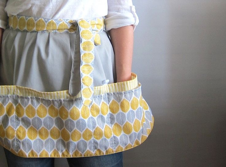 Cafe Apron, Hip Apron, Half Apron with pockets - Collection Nature - grey and yellow birch leaves by SableEtMer on Etsy https://www.etsy.com/listing/198606854/cafe-apron-hip-apron-half-apron-with
