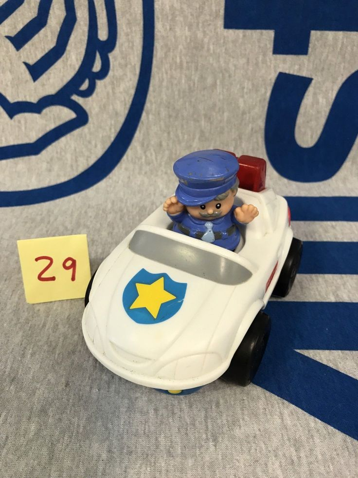 1999 FISHER PRICE Little People POLICE CAR Lights And Sound with policeman