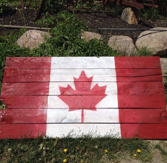 Large pallet board Canadiana flag, for the cottage or home! Sealed well for indoor, and outdoor use. Approximate size 6x3 {Please contact us for custom sizes} NOTE: Please bear in mind that every piece of wood has its own special details and imperfections to give it character. As such, no two pieces can ever be exactly the same. SHIPPING: For customers in the Peterborough are who wish to pick their order up in person - please send us a message after purchase to let us know, and we will h...