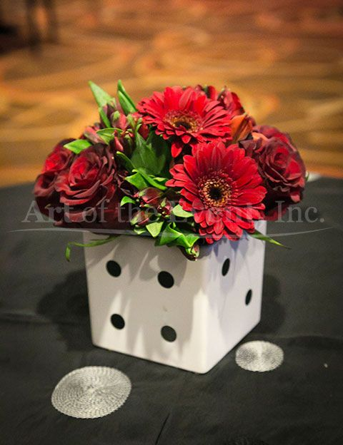 Dice Vases Bring A Casino Or Game Night Theme To Life Centerpieces By Art Of The Event In