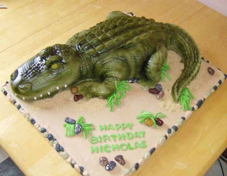 Alligator Cake Ok, my husband deserves the credit on this one. I baked and applied the fondant, but he sculpted it, airbrushed it, and...