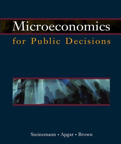 Microeconomics for Public Decisions with Economic Applications Card:   Microeconomics for Public Decisions is a revision of the Apgar/Brown Microeconomics for Public Policy text.  It was revised after conducting interviews with students and former students (now practitioners), and asking them what economic concepts and methods they use most frequently in their jobs.  Microeconomics for Public Decisions is  designed to focus on essential principles and analytical techniques for making d...
