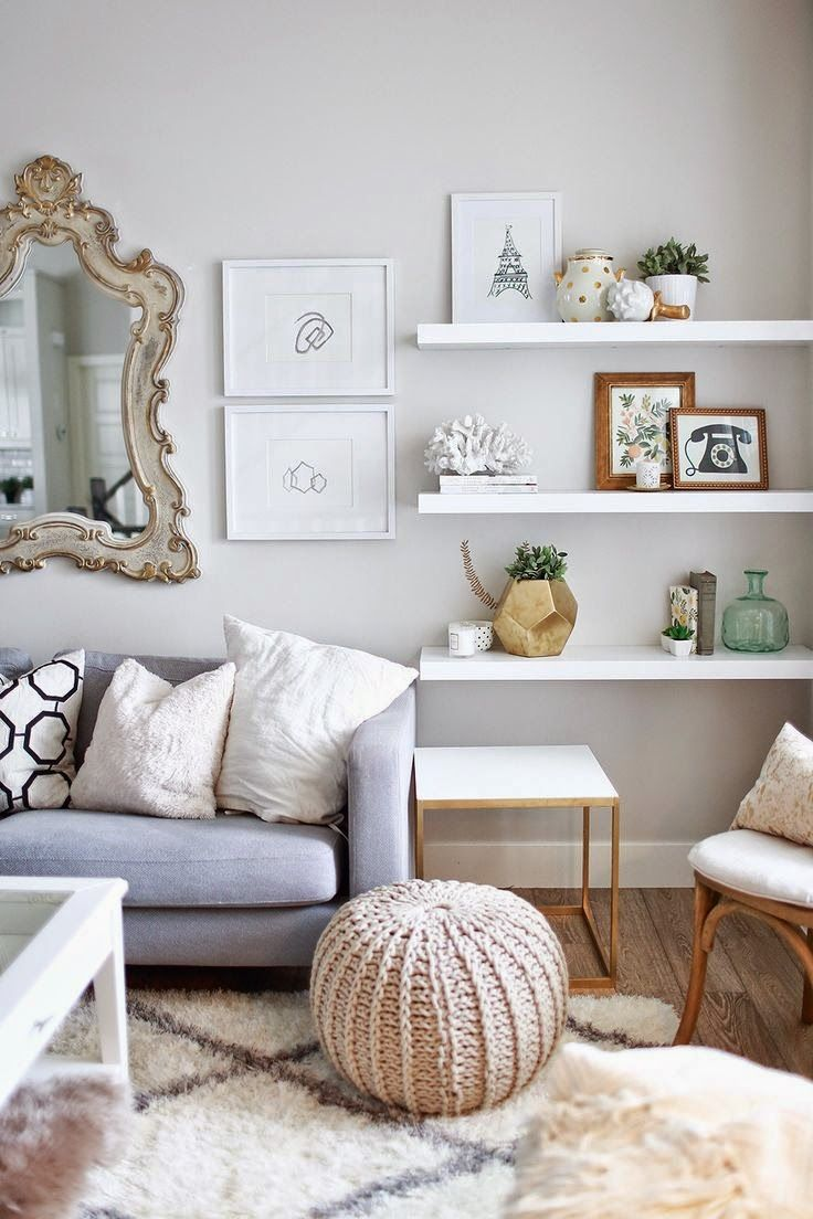 Copy Cat Chic Room Redo. Living Room Wall ShelvesMirror Decor ...