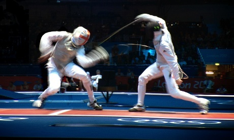 Britian's James-Andrew Davis is the last Britain to be eliminated from the Fencing