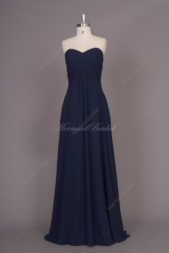 Navy blue Chiffon Long bridesmaid dress, bridal praty dress, bridesmaid gowns, Long Bridesmaid Dress With Sweetheart Neckline