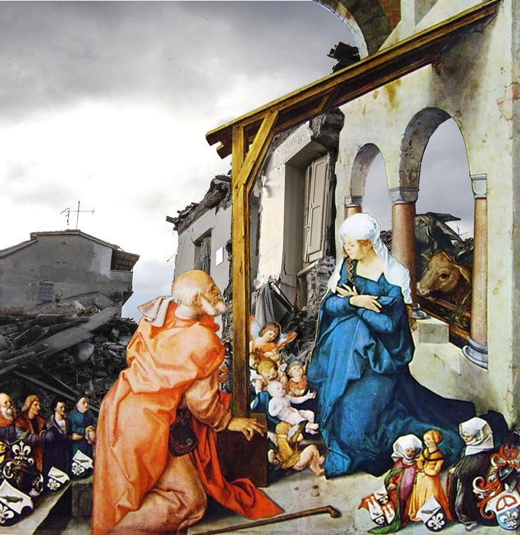Natività permanente.  Albrecht Dürer, Altare di Paumgartner, 1504. Amatrice, unico muro sopravvissuto al terremoto, 24 agosto 2016.