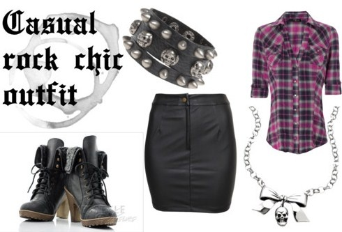 Casual rock chic outfit but I would change the skirt to pants