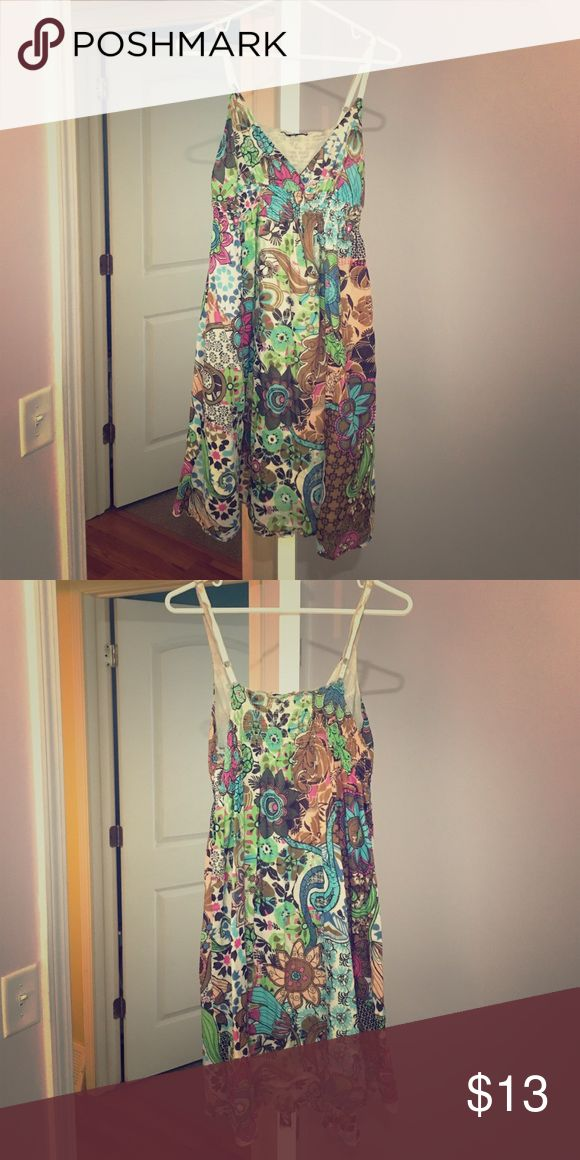 Psychedelic music festival dress - Large Beautiful patterned festival dress...received many compliments every time I wore it. Has been warn with love! No tags Dresses Mini