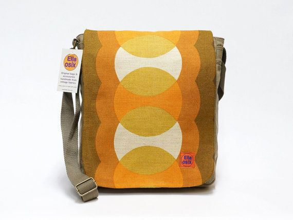 Jana  messenger bag upcycled with vintage fabric by EllaOsix, €35.00