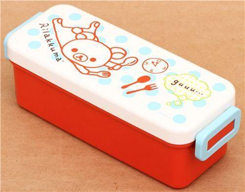 Fiambrera caja bento roja oso Rilakkuma cubierto lunares
